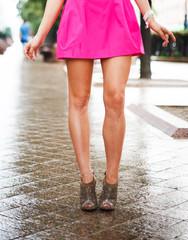 Woman legs. Beautiful female feet