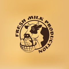 Cow hold in it mouth basket with milk products. Round vector label with the text. Old vintage style.