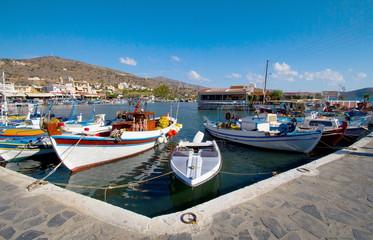 Fishing boats at the pier in Elounda. Crete