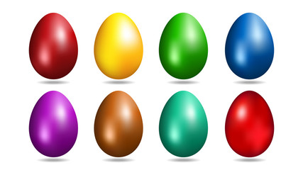 Easter eggs in 8 colors. Vector illustration.
