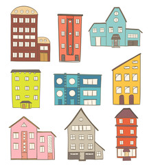 set of cartoon houses. vector drawing of retro buildings