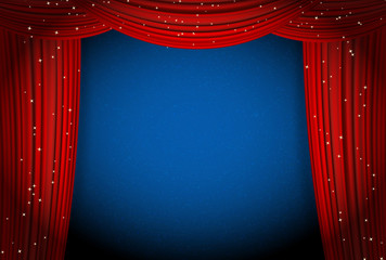 red open curtains on blue background with glittering stars