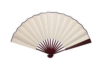 Open Folding Asian Fan on White Background