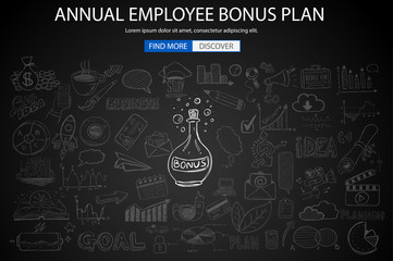 Employee Bonus Benefit Plan concept with Doodle design style