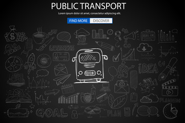 Public Transports concept wih Doodle design style :best routes