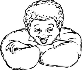 Cute smiling man with folded arms