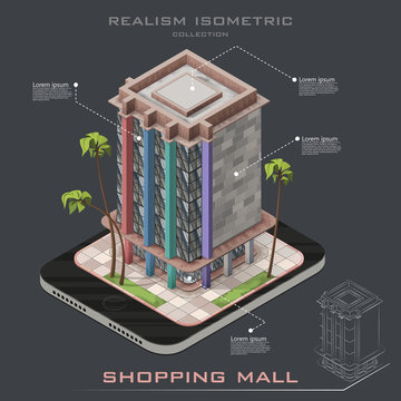 Realistic Isometric icon shopping mall building infographic