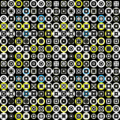 colored circles and squares on a black background seamless pattern vector illustration