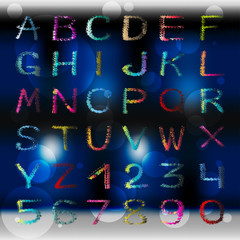 colored graffiti alphabet and numbers on a beautiful color background vector illustration