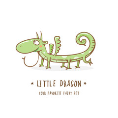 Cartoon cute little dragon  logo. Vector image.