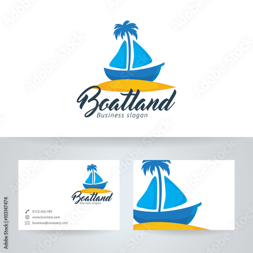 Boat land vector logo with business card template stock image and boat land vector logo with business card template reheart Image collections