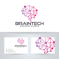 Brain tech vector logo with business card template