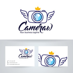 Camera wings vector logo with business card template