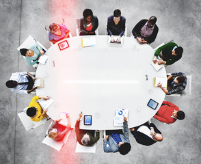 Group of Diverse Business People in a Meeting  Concept