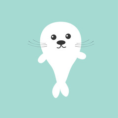 Seal pup baby harp. Cute cartoon character. Blue background. Flat design