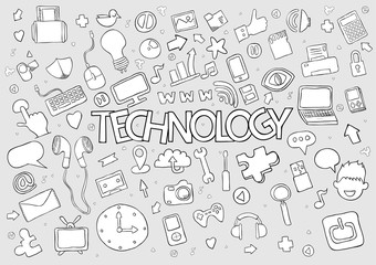Social network background with media icons technology hand lette