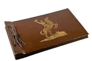 Vintage Photo Album with Horse and Rider on the cover on white background