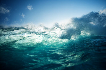 Churning Blue Water in the Ocean