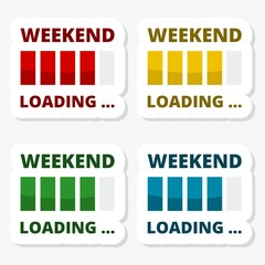 Weekend Loading stickers icons set