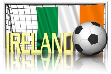 Calcio Europa_Irlanda_002 Bandiera, pallone da calcio e nome della nazionale di calcio.