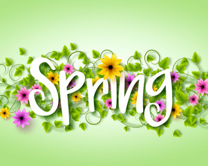 Vector Spring Text Design with Colorful Realistic Elements like Flowers and Vines in the Background. Vector Illustration