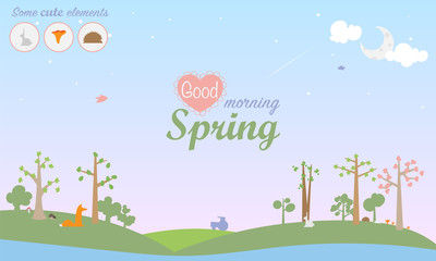Spring season vector illustration. Landscape with trees in blossom, mushrooms, lake, birds and different animals fox, rabbit, hedgehog, mouse. Inscription in center Good Morning Spring.