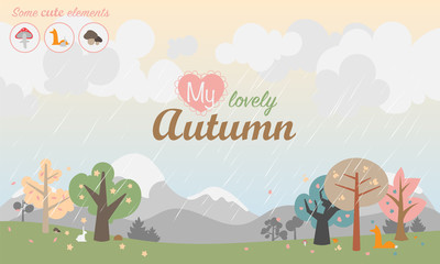 Autumn season vector illustration. Landscape with trees and mushrooms, mountains, birds and different animals fox, rabbit, hedgehog. Rainy weather. Inscription in center My Lovely Autumn.