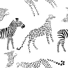 Seamless pattern with savanna animals