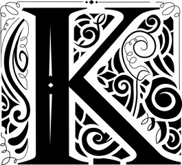 Vintage Monogram Letter K