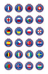 Jetons Symbole aller Fußball Teilnehmerländer der Europameiste