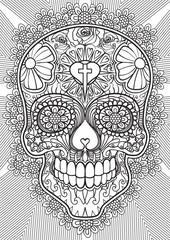 Adult Coloring book – illustration. Tattoo set: Skull. Vector illustration.