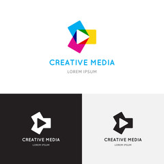 Creative colored media logo. Vector template of play logo, media logo, multimedia logo and other use.