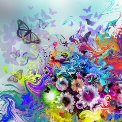 цветочный фон с бабочками