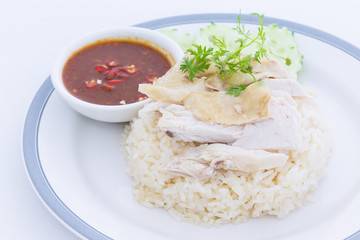 Steamed chicken with rice and spicy sauce