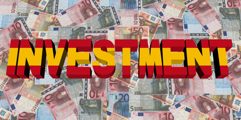 Investment text with Spanish flag on Euros illustration