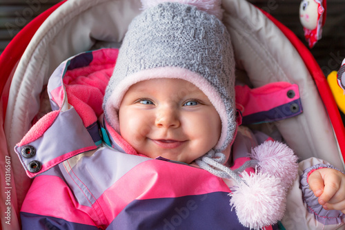 e0d2da4e5 Portrait of baby girl in winter jacket and hat