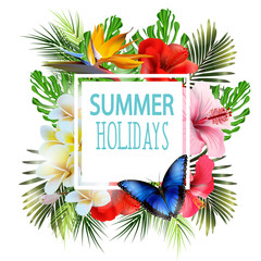 Summer holidays background with tropical flowers. Template Vector. Place for your text