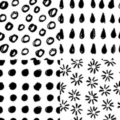 Set of hand drawn marker and ink seamless patterns. Black and white simple vector texture with drops, circles, flowers and doodles.