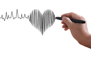 hand drawing heart marker