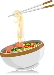 Asian Food Pho Noodles Chopsticks
