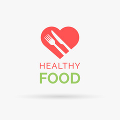 Eat healthy food icon with red heart, fork and knife. Healthy heart and diet symbol. Vector illustration.