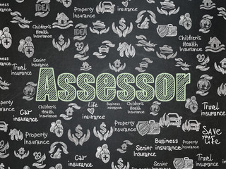 Insurance concept: Assessor on School Board background