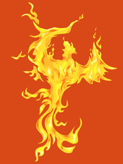 Phoenix Bird Orange Background
