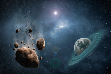 Cosmos scene with asteroid, planet and nebula in space