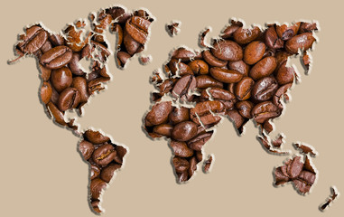 World map made of coffee beans.