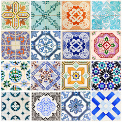 Foto op Plexiglas Marokkaanse Tegels Beautiful collage of all kind of different tiles of the houses of Lisbon, Portugal