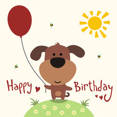 Happy birthday card, funny puppy with balloon, handwritten text