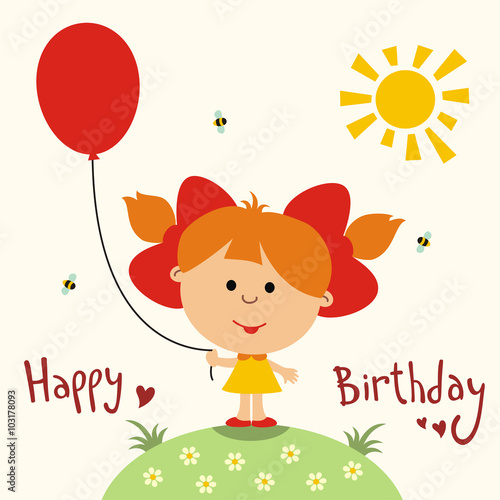 Happy birthday card cute little girl with balloon handwritten – Happy Birthday Card for Little Girl
