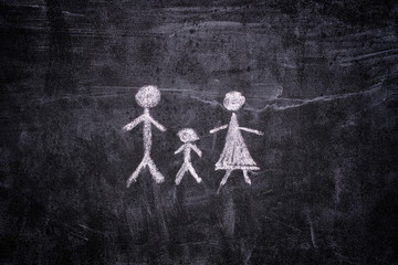 Family drawn on chalkboard