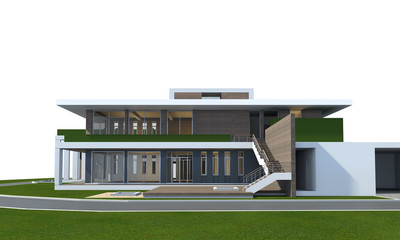 3D rendering of house isolated on white with clipping path.